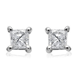 RHAPSODY 950 Platinum EGL Certified Diamond (Sqr) (VS/E-F) Stud Earrings (with Screw Back) 0.250 Ct.