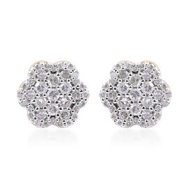 9K Yellow Gold SGL Certified Diamond (Rnd) (I3/G-H) Floral Stud Earrings (with Push Back) 0.50 Ct.
