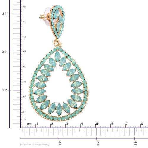 Designer Inspired-Simulated Pariaba Tourmaline Teardrop Earrings (with Push Back) in Yellow Gold Tone