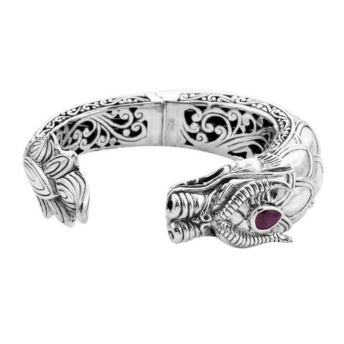 Royal Bali Collection - African Ruby Dragon Hinged Cuff Bangle (Size 7.5) in Sterling Silver, Silver