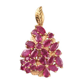 5.59 Ct AA African Ruby Floral Cluster Pendant in Gold Plated Sterling Silver