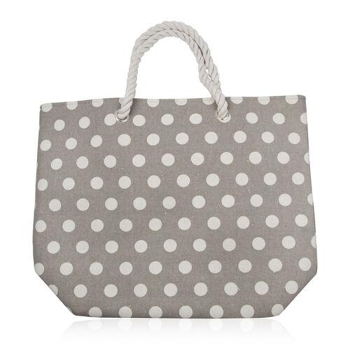 Environment Friendly Grey Polka Dots Large Shopper (Size 45x35x14 Cm)