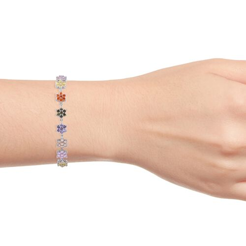Multi Colour Simulated Diamond (Rnd) Floral Bracelet (Size 6.5) and Earrings in Silver Plated