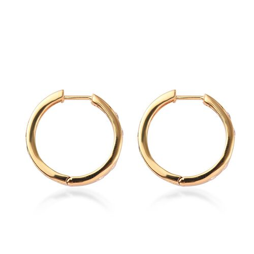 J Francis - 14K Gold Overlay Sterling Silver Hoop Earrings Made with SWAROVSKI ZIRCONIA 2.83 Ct, Silver wt 7.71 Gms
