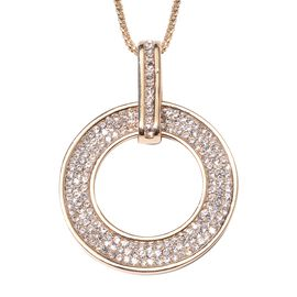 White Austrian Crystal (Rnd) Circle of Life Pendant With Chain (Size 29 with 2 inch Extender) in Yel