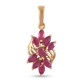 African Ruby (FF) Floral Pendant in 14K Gold Overlay Sterling Silver 1.50 Ct.