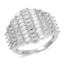 Simulated Diamond Cluster Ring in Silver Tone