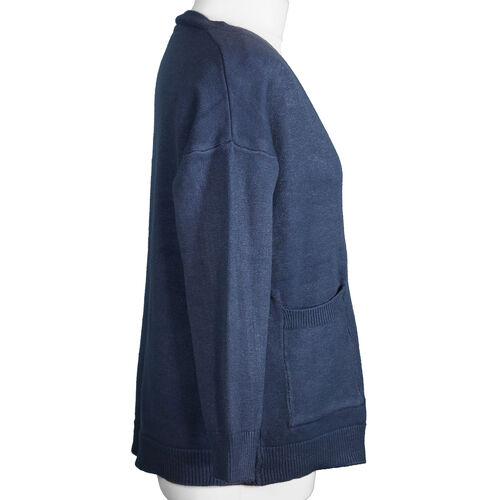 Kris Ana V Neck Cardigan in Blue - One Size (8-16)