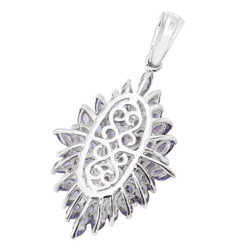 Tanzanite (Mrq) Pendant in Platinum Overlay Sterling Silver 4.000 Ct.