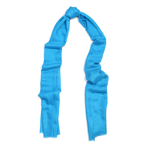 100% Cashmere Wool Turquoise Colour Scarf (Size 200x70 Cm)