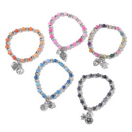 Set of 5 Multi Agate Beaded Stretchable Bracelet with Multi Charm in Silver Tone