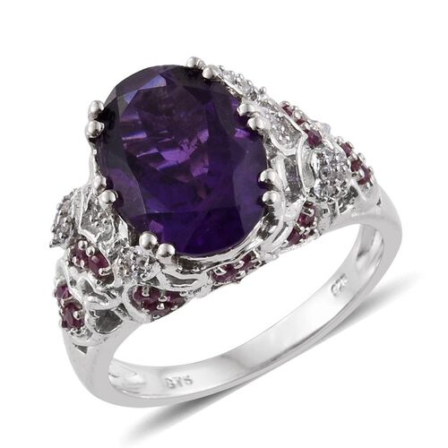 Tucson Collection-Amethyst (Ovl 5.50 Ct), Rhodolite Garnet and Natural Cambodian Zircon Ring in Platinum Overlay Sterling Silver 6.280 Ct.