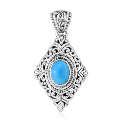 Royal Bali Collection Arizona Sleeping Beauty Turquoise (Ovl) Pendant in Sterling Silver 1.560 Ct. Silver wt 5.27 Gms.