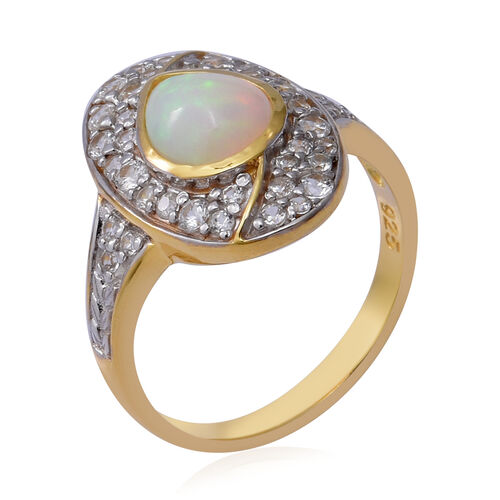 New Arrival - Ethiopian Welo Opal and Natural Cambodian Zircon Ring in Two Tone Overlay Sterling Silver 3.06 Ct.