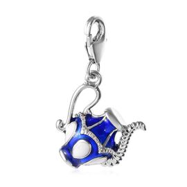 Platinum Overlay Sterling Silver Enamelled Charm