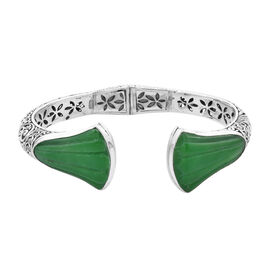 Royal Bali Collection - Carved Green Jade Bangle (Size 7.25) in Sterling Silver 45.96 Ct, Silver wt