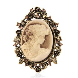Cameo and Simulated Champagne Colour Austrian Crystal Brooch or Pendant in Antique Gold Plating