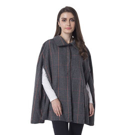 Plaid Pattern Retro Cape - (70.01x76cm) - Brown