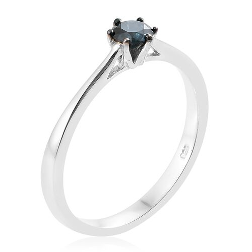 SGL Certified Blue Diamond (I1-I2) (Rnd) Solitaire Ring in Blue and Platinum Overlay Sterling Silver 0.500 Ct.
