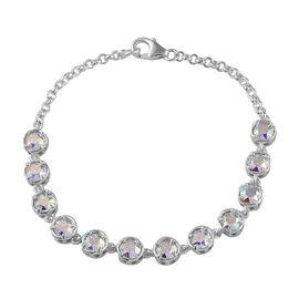 J Francis Crystal from Swarovski - AB Colour Crystal (Rnd) Bracelet (Size 7.5) in Sterling Silver, Silver wt 7.50 Gms.