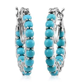 Arizona Sleeping Beauty Turquoise (Rnd) Hoop Earrings (with Clasp Lock) in Platinum Overlay Sterling Silver 3.500 Ct.