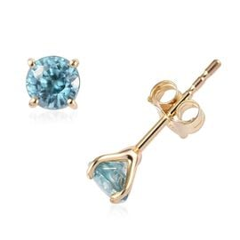 9K Yellow Gold Ratanakiri Blue Zircon Solitaire Stud Earrings (with Push Back) 0.85 Ct.