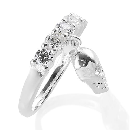 J Francis - Sterling Silver (Rnd) 5 Stone Ring with Skull Charm Made with SWAROVSKI ZIRCONIA