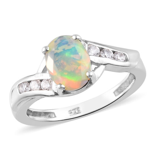 Ethiopian Welo Opal and Natural Cambodian Zircon Bypass Ring in Platinum Overlay Sterling Silver 0.9
