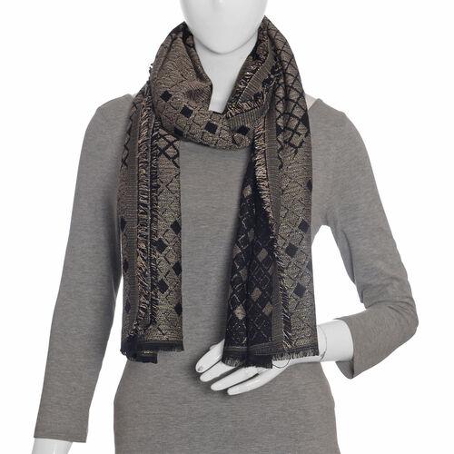Designer Inspired-Black Colour Lurex Shawl (Size 185x70 Cm)