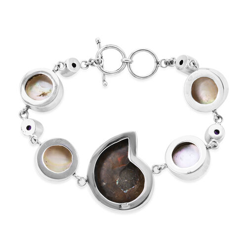 Limited Edition - Royal Bali Collection- Ammonite, White Mabe Pearl and Amethyst Bracelet (Size 8 with Extender) in Sterling Silver, Silver wt 22.12 Gms