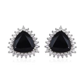 15.25 Ct Boi Ploi Black Spinel and Zircon Stud Halo Earrings in Platinum Plated Silver