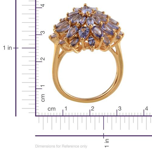 Tanzanite (Mrq) Cluster Ring in 14K Gold Overlay Sterling Silver 4.650 Ct.