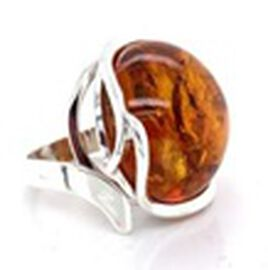 Natural Baltic Amber Ring in Sterling Silver, Silver wt 5.75 Gms
