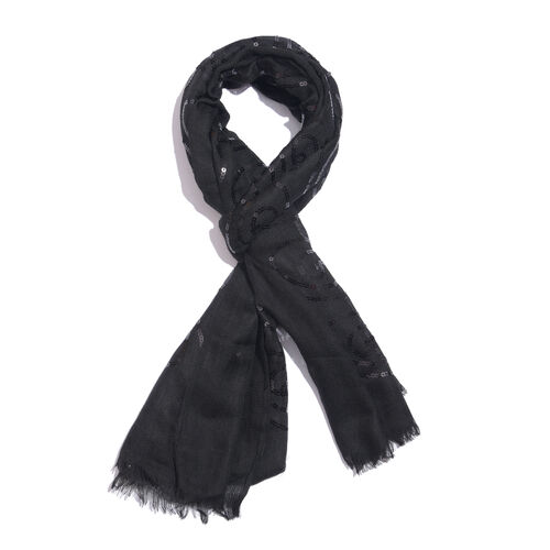100% Merino Wool Sequins Embellished Black Colour Scarf with Fringes (Size 170X70 Cm)