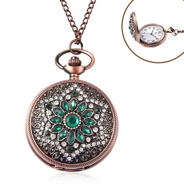 Simulated Emerald glass flower pattern pocket watch,Case:alloy+white crystal+green glass,Movement:PC