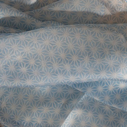 100% Mulberry Silk Blue and White Colour Seamless Hand Screen Printed Scarf (Size 180X50 Cm)