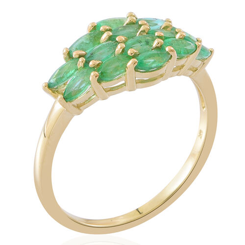 9K Yellow Gold Kagem Zambian Emerald (Mrq) Ring 2.000 Ct.