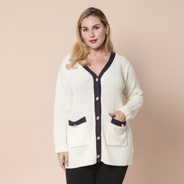 LA MAREY Cream Contrast Cardigan with Golden Buttons