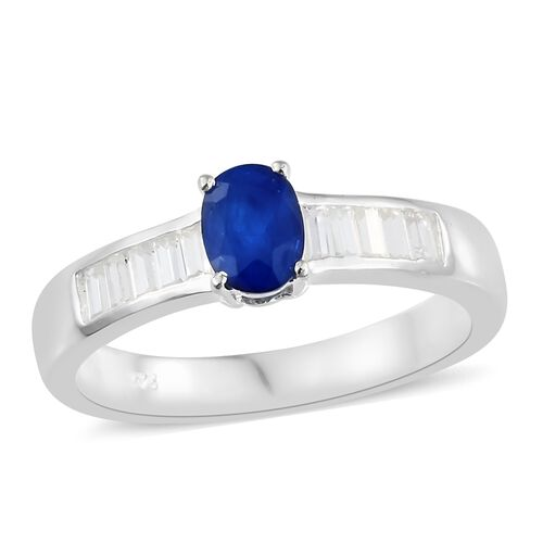 Very Rare Blue Spinel (Ovl), Natural White Cambodian Zircon Ring in Sterling Silver 1.500 Ct.