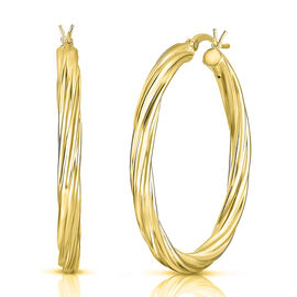 Twisted Hoop Earrings in 14K Gold Plated Sterling Silver 4.90 Grams