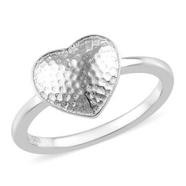 Platinum Overlay Sterling Silver Heart Ring