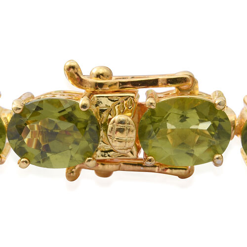 Hebei Peridot (Ovl) Bracelet (Size 7) in Yellow Gold Overlay Sterling Silver 27.200 Ct. Silver wt 12.50 Gms.