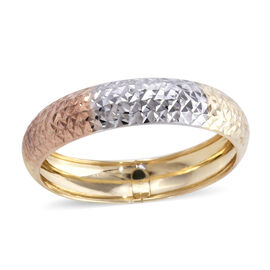 Royal Bali Collection - 9K Yellow, White and Rose Gold Diamond Cut Texture Band Ring