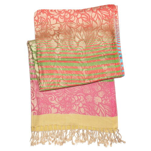 Designer Inspired-Red, Blue, Pink and Multi Colour Floral Pattern Scarf with Fringes (Size 190x70 Cm)
