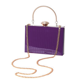 BOUTIQUE COLLECTION Purple Colour Stripe Pattern Shoulder Bag with Chain Strap and Crystal Studded T