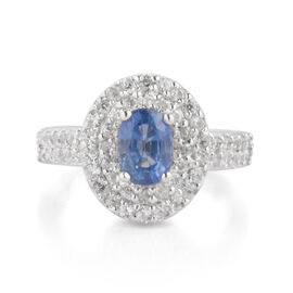 Signature Collection - Extremely Rare Size Ceylon Sapphire (Ovl 1.05 Ct), Natural Zircon Double Halo Ring in Rhodium Overlay Sterling Silver 2.270 Ct.