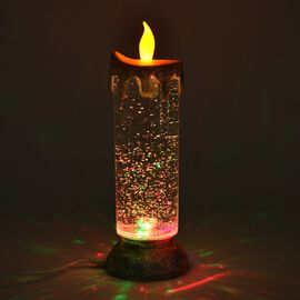 Moving Sprinkle Pattern LED Glitter Flameless Candle with USB and In-built Agitator (Size 8.5x8.5x25