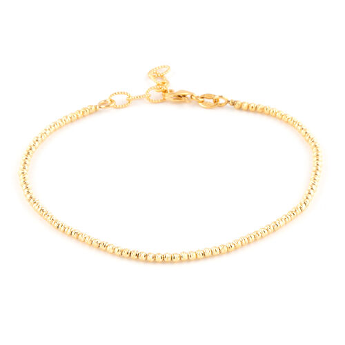 9K Yellow Gold Diamond Cut Beaded Bracelet (Size 7 with 1 inch Extender).Gold Wt 3.00 Gms