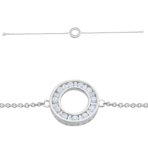Diamond Circle of Life Bracelet in 9K White Gold 0.50 Carat (7.75 Inch) SGL Certified (I3/ G-H)