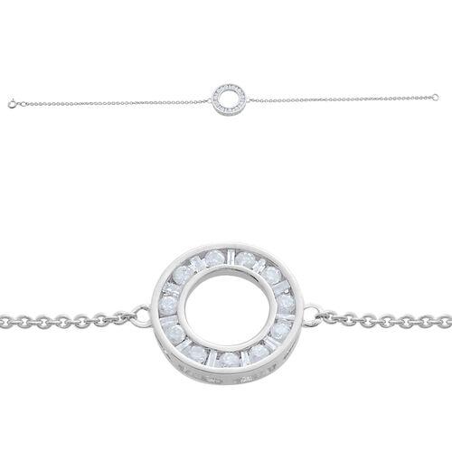 9K White Gold SGL Certified Diamond (13/G-H ) (Rnd & Bgt) Bracelet (Size 7.25)  0.500  Ct.